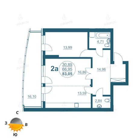 Вариант №956, 2-комнатная квартира в жилом комплексе Флотилия