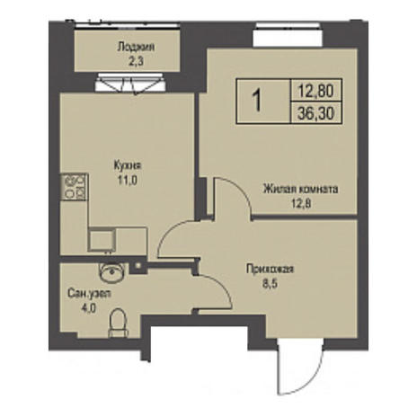 Вариант №3425, 1-комнатная квартира в жилом комплексе