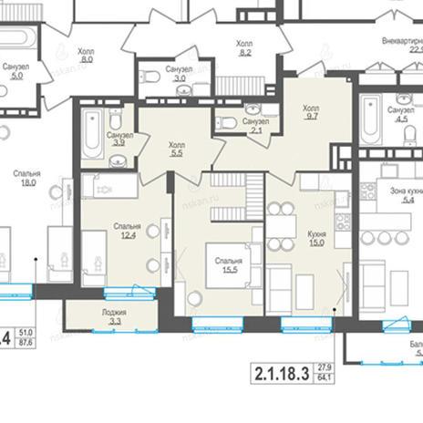 Вариант №856, 3-комнатная квартира в жилом комплексе Пифагор