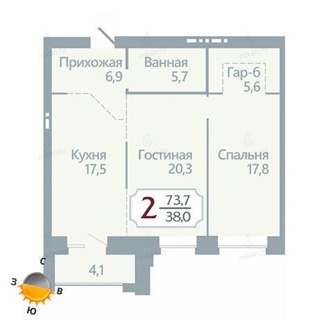 Вариант №1748, 2-комнатная квартира в жилом комплексе Бульварный переулок