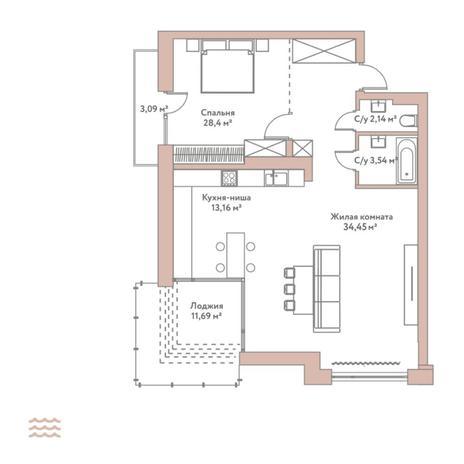 Вариант №5792, 2-комнатная квартира в жилом комплексе