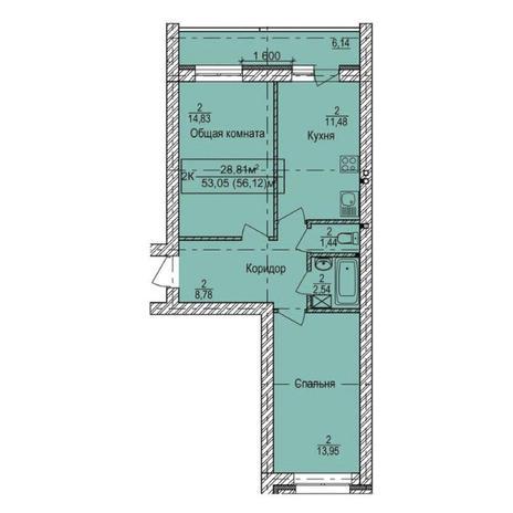 Вариант №3340, 2-комнатная квартира в жилом комплексе