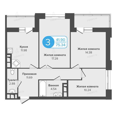 Вариант №1008, 3-комнатная квартира в жилом комплексе Огни Сибири