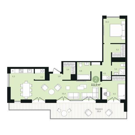 Вариант №6369, 4-комнатная квартира в жилом комплексе