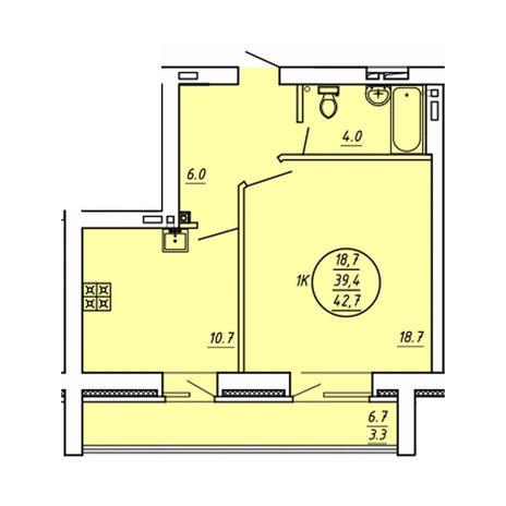 Вариант №3599, 1-комнатная квартира в жилом комплексе