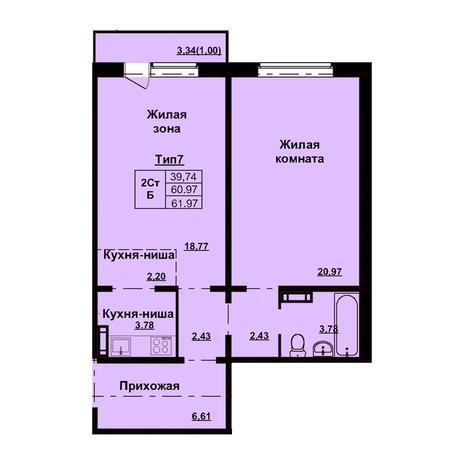 Вариант №3169, 2-комнатная квартира в жилом комплексе