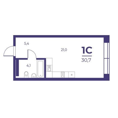 Вариант №5291, 1-комнатная квартира в жилом комплексе