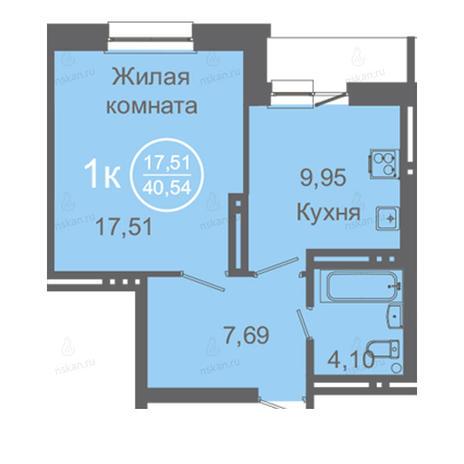 Вариант №2420, 1-комнатная квартира в жилом комплексе Дианит