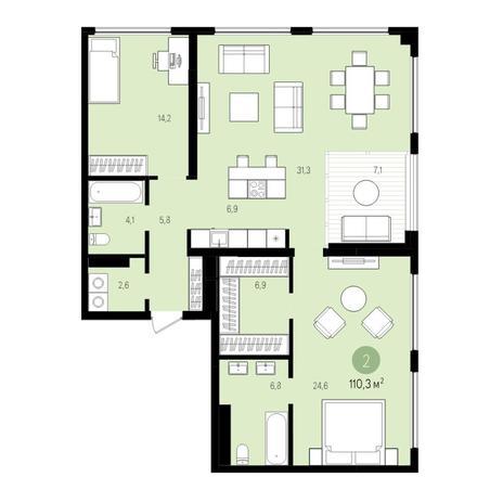 Вариант №5527, 3-комнатная квартира в жилом комплексе
