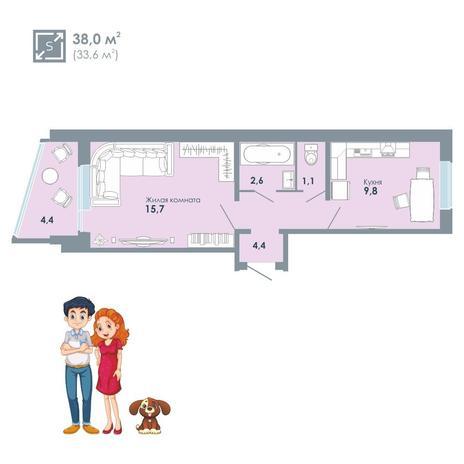 Вариант №5146, 1-комнатная квартира в жилом комплексе Ключевой
