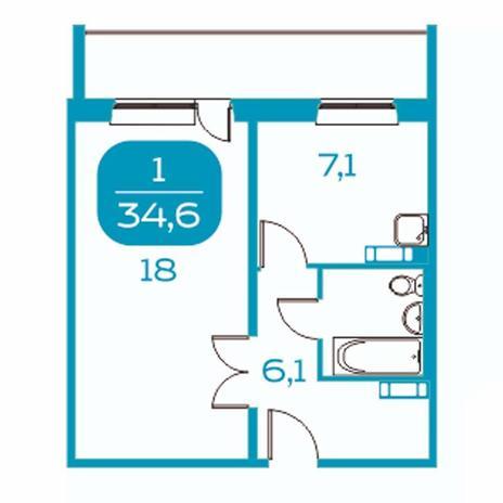 Вариант №4387, 1-комнатная квартира в жилом комплексе Крымский