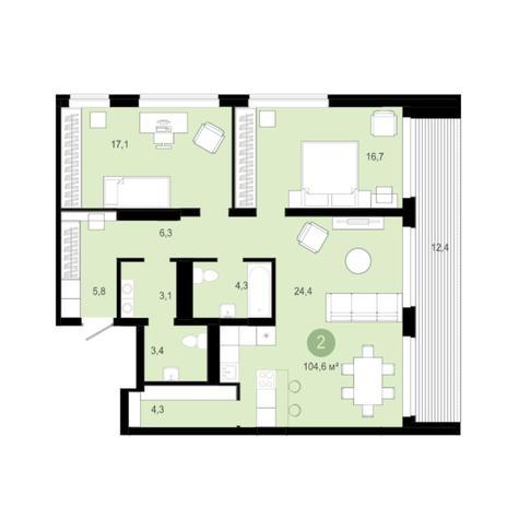 Вариант №5994, 3-комнатная квартира в жилом комплексе