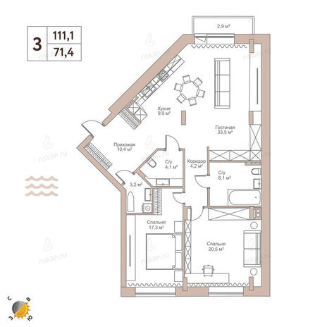 Вариант №2439, 3-комнатная квартира в жилом комплексе