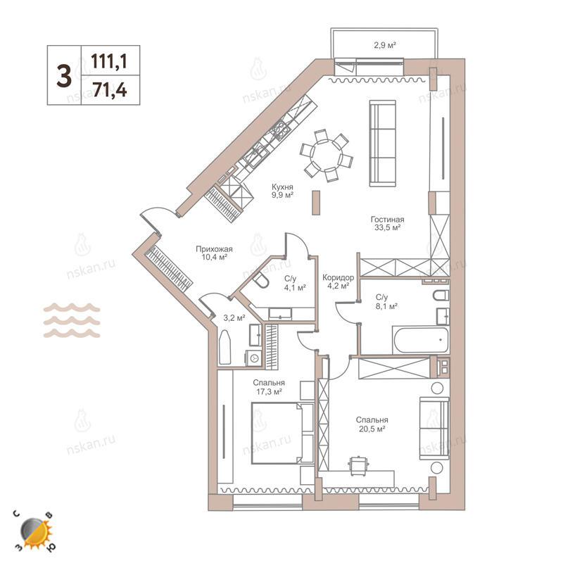 Планировка 3-комн. студия площадью 111.1 м<sup>2</sup> в ЖК Flora & Fauna
