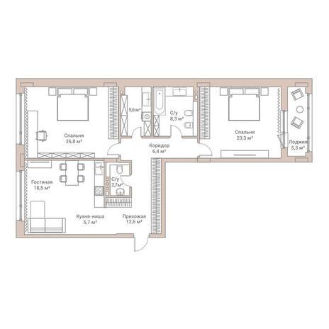 Вариант №3566, 3-комнатная квартира в жилом комплексе