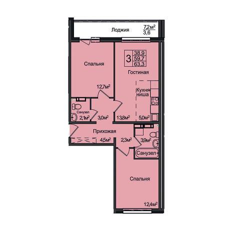 Вариант №3097, 3-комнатная квартира в жилом комплексе