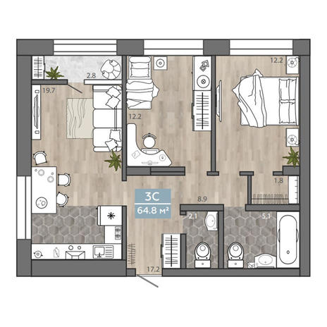 Вариант №3112, 3-комнатная квартира в жилом комплексе Чистая Слобода