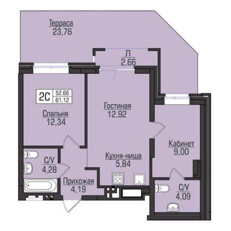 Вариант №5062, 3-комнатная квартира в жилом комплексе Цивилизация