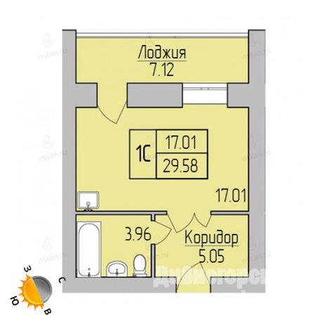 Вариант №3777, 1-комнатная квартира в жилом комплексе Дивногорский