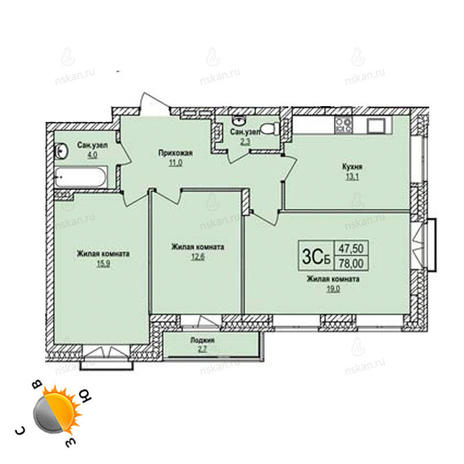 Вариант №1237, 3-комнатная квартира в жилом комплексе