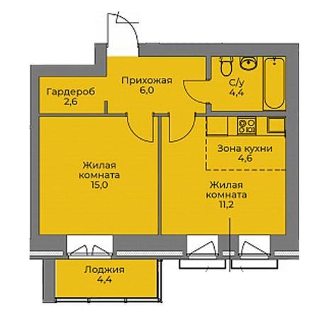 Вариант №4395, 2-комнатная квартира в жилом комплексе Эскимо