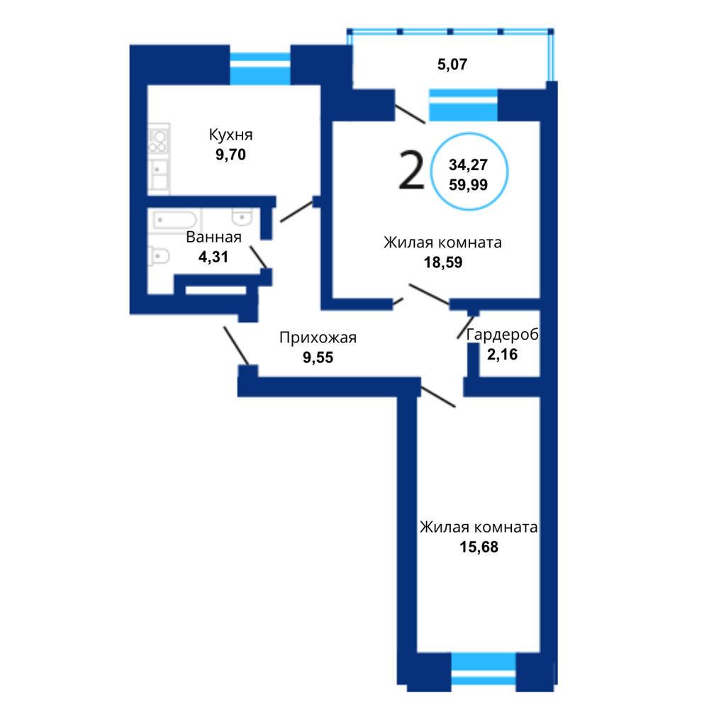Планировка 2-комнатная площадью 59.99 м<sup>2</sup> в ЖК Бавария