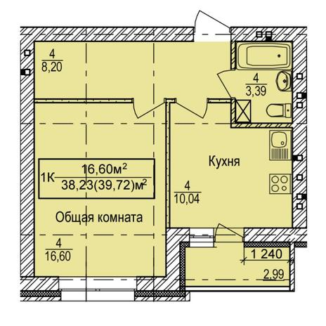 Вариант №5402, 1-комнатная квартира в жилом комплексе