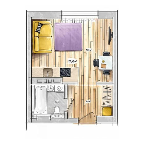 Вариант №3957, 1-комнатная квартира в жилом комплексе БонАпарт