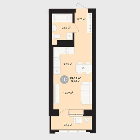 Вариант №5227, 1-комнатная квартира в жилом комплексе