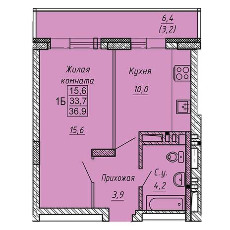 Вариант №3273, 1-комнатная квартира в жилом комплексе Ника