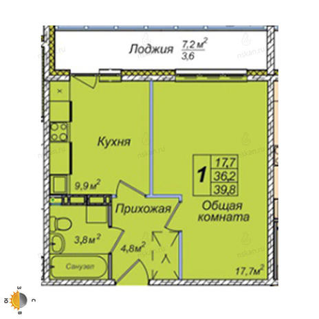 Вариант №2390, 1-комнатная квартира в жилом комплексе Приозерный