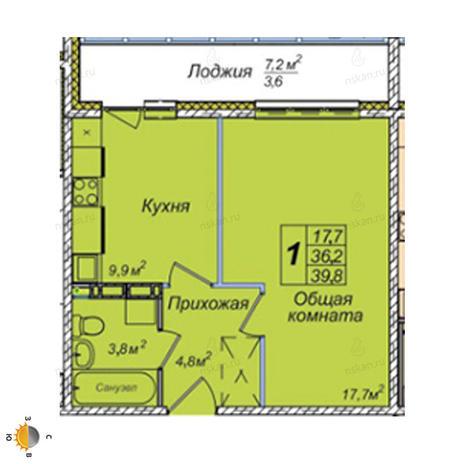 Вариант №2390, 1-комнатная квартира в жилом комплексе