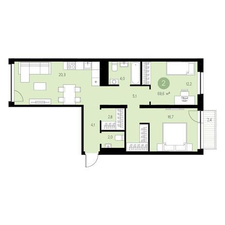 Вариант №4685, 3-комнатная квартира в жилом комплексе Европейский Берег