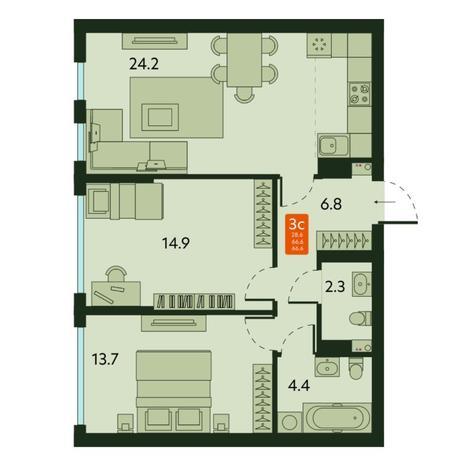 Вариант №6669, 3-комнатная квартира в жилом комплексе