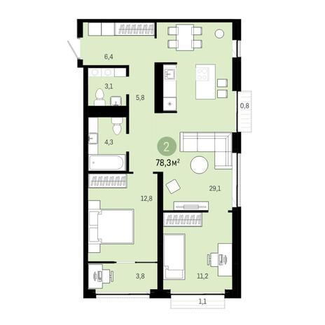 Вариант №6378, 3-комнатная квартира в жилом комплексе