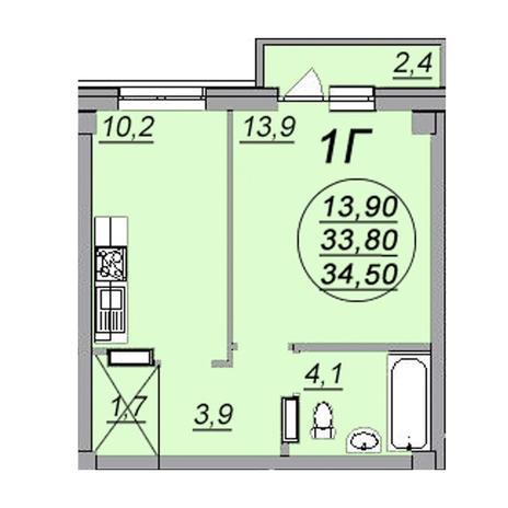 Вариант №3472, 1-комнатная квартира в жилом комплексе
