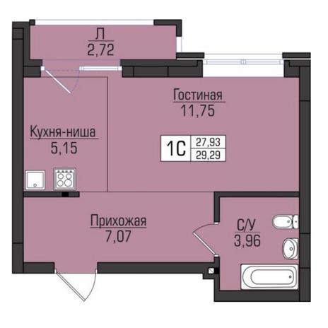 Вариант №5090, 1-комнатная квартира в жилом комплексе
