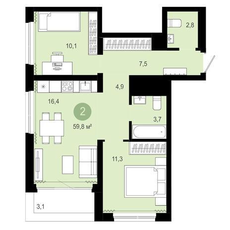 Вариант №4067, 3-комнатная квартира в жилом комплексе Пшеница