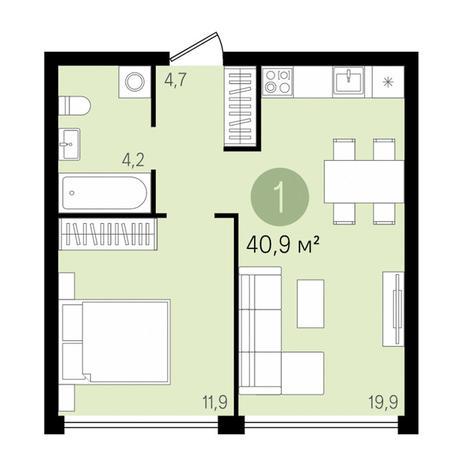 Вариант №2990, 2-комнатная квартира в жилом комплексе