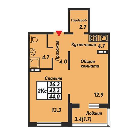 Вариант №3668, 2-комнатная квартира в жилом комплексе Галактика