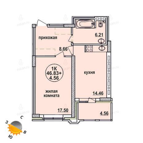 Вариант №628, 1-комнатная квартира в жилом комплексе Заельцовский