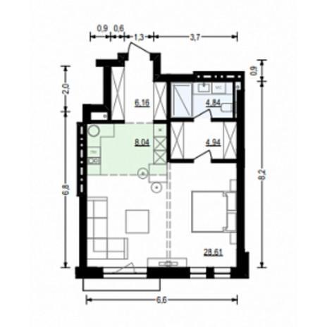Вариант №4913, 2-комнатная квартира в жилом комплексе