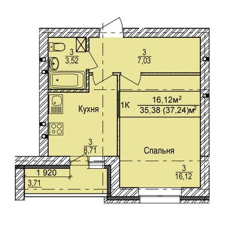 Вариант №5396, 1-комнатная квартира в жилом комплексе