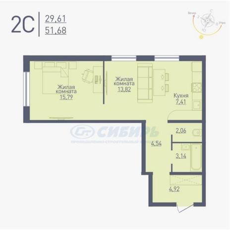 Вариант №4771, 2-комнатная квартира в жилом комплексе Ключевой