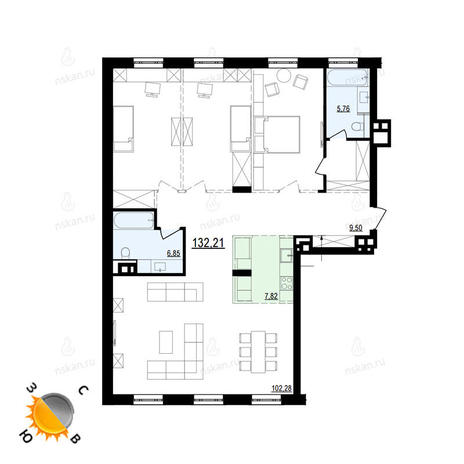 Вариант №874, 4-комнатная квартира в жилом комплексе Жуковка