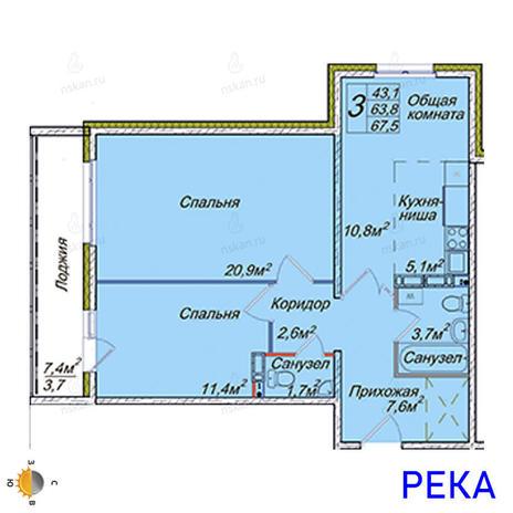 Вариант №2022, 3-комнатная квартира в жилом комплексе