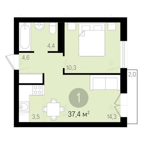 Вариант №2673, 2-комнатная квартира в жилом комплексе Дунаевский