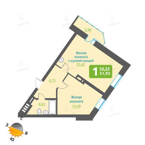 Вариант №1211, 2-комнатная квартира в жилом комплексе Марсель