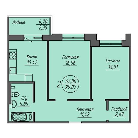 Вариант №3210, 2-комнатная квартира в жилом комплексе