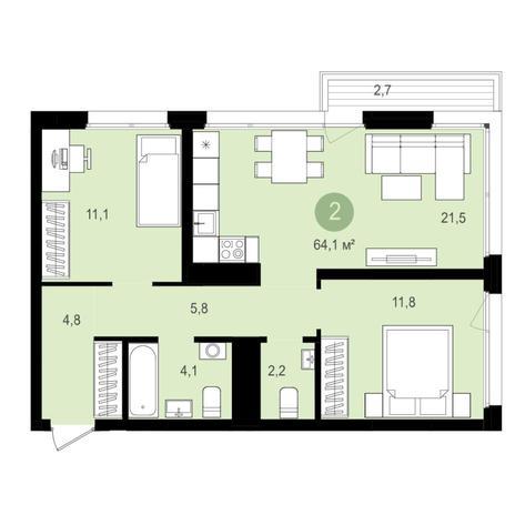 Вариант №4357, 3-комнатная квартира в жилом комплексе